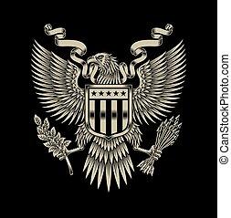 American Eagle Emblem - fully editable vector illustration...