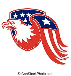 american-eagle-flag-wing - Illustration of a bald eagle...