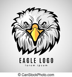 American eagle head logo or bald eagles vector label