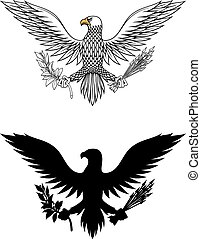 American eagle holding branch and arrows