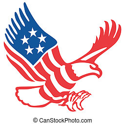 American eagle in the patriotic colors on the fly