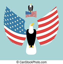 American Eagle. Most powerful Bird and US Flag. Emblem for America. Winged predator with wings. State patriotic symbols