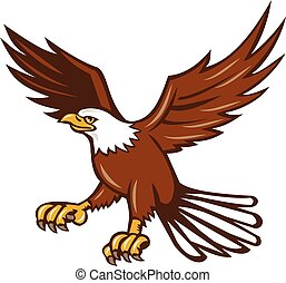 American Eagle Swooping Isolated Retro - Illustration of an...