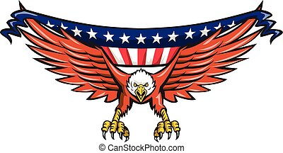 American Eagle Swooping USA Flag Retro - Illustration of an...