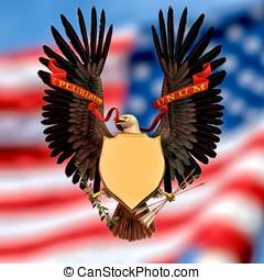 American Eagle Symbol - American bald eagle wings out...