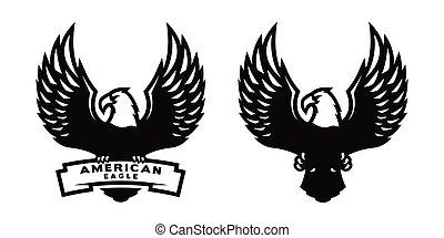 American eagle, two versions. - American eagle symbol, logo,...