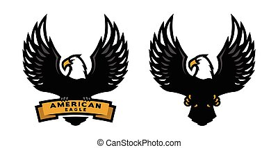 American eagle, two versions. - American eagle logo, two...