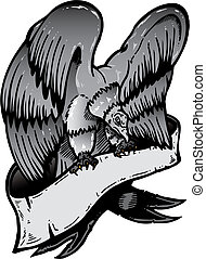 American eagle with banner vector illustration Black and...