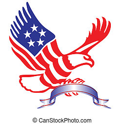 American eagle with ribbon