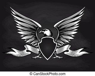 American eagle with shield on blackboard