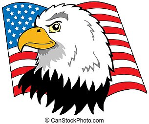 American eagles head with flag - isolated illustration.