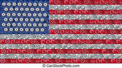 American economy symbol represented by gears and cogs in the...