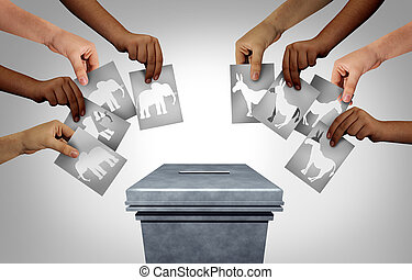 American election with groups of conservative republican voters and liberal democrat voting public as a community vote as diverse hands casting ballots as a democratic right in the United States with 3D illustration elements.