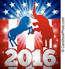 American Election Animal Concept - 2016 American political...