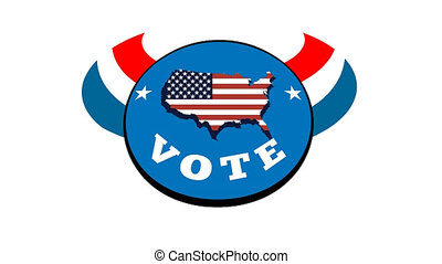 2d video footage animation of a retro cartoon style hand holding paper ballot putting it in box with American stars and stripes flag with words vote on white screen background.