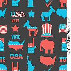 American Elections seamless pattern. Republican elephant and Democratic donkey ornament. Symbols of political parties in America bacground. Statue of Liberty and USA map. Fist and Uncle Sam hat. Naional texture