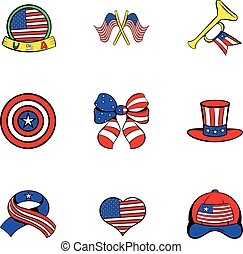American emblem icons set, cartoon style