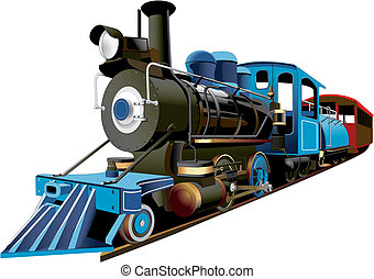 American Express - detailed image of locomotive of middle 19...