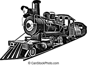 detailed image of locomotive of middle 19 ages, isolated on white background.