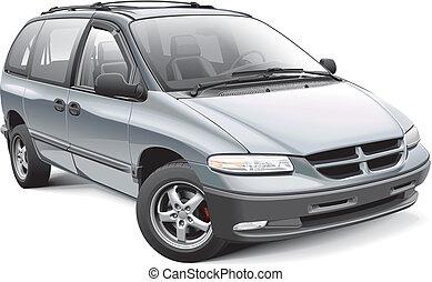 American family minivan - Detail vector image of American...