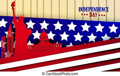 American Famouse Monuments Over Flag Background United States Independence Day Holiday Greeting Card