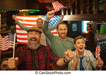 American fans cheering for their team