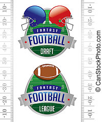 An illustration of American Fantasy Football badges. Vector EPS 10 file available for download. EPS file contains transparencies.