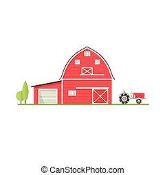 American farm icon in flat style. Vector illustration.