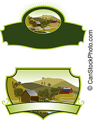 American Farm Scene Labels - A pair of labels featuring an...