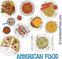 American grilled steaks, burgers and vegetables sketch icon served with fast food cheeseburger, pizzas, french fries and sausages, chilli and jambalaya with meatballs, pumpkin cream soup and banana split dessert, coffee and soda drinks