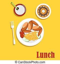 American fast food lunch menu elements