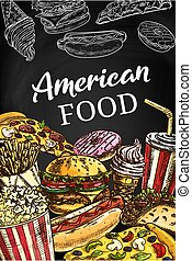 American fastfood poster, sketch takeaway food