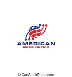 American Fiber Optics Logo Design Vector