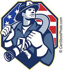American Fireman Fire-fighter Fire Hose Retro - Illustration...