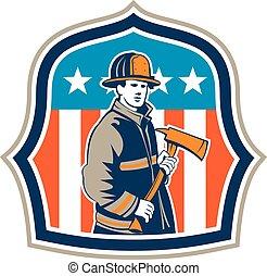 American Fireman Firefighter Fire Axe Shield