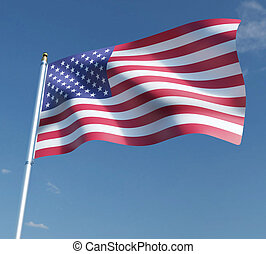 American flag 3D illustration on blue sky background. 3D rendering illustrations.