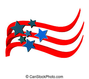 American flag 3D with stars icon