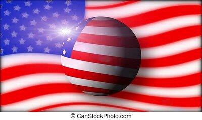 American flag and ball