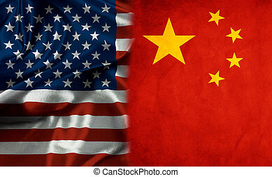 American Flag and China Flag Symbolizing  Relationship