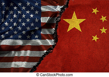 American Flag and China Flag With Crack Symbolizing Strained Relationship
