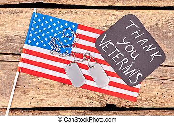 American flag and dog tags.
