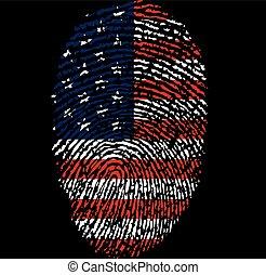 American flag and fingerprint