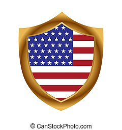American flag and gold shield. Stock icon. Vector Illustration.