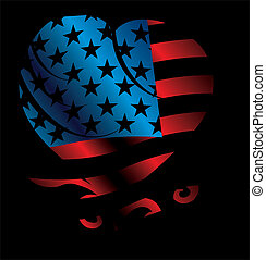 american flag and heart vector art