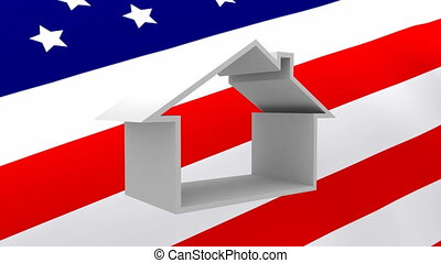 American flag and house