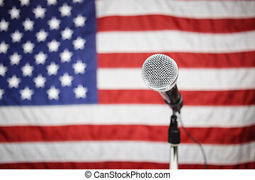 American Flag and microphone