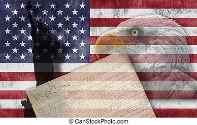American flag and patriotic symbols
