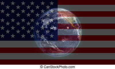American flag and planet earth