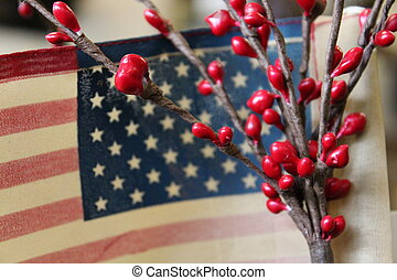American flag and red berries - American flag with red...