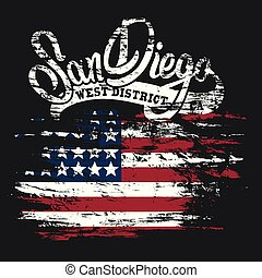 American flag and San Diego text  grunge print design